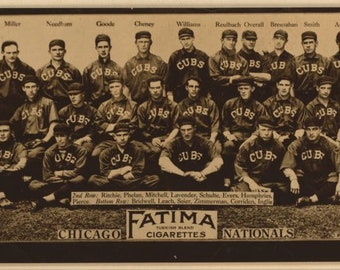 Chicago Cubs team photograph 1913 baseball card Fatima cigarettes reproduction large print