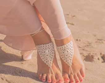 Barefoot Sandals- Boho Wedding Sandals- Beach Wedding Barefoot Sandals- Foot Jewelry- Barefoot Wedding- Bridesmaid Gift- Boho Wedding Shoes