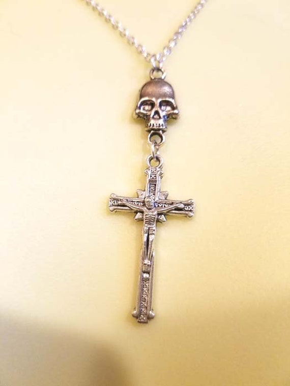 silver skull necklace cross crucifix necklace unisex mens womens goth biker punk skull jewelry