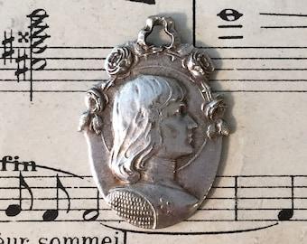 Large Antique French Art Nouveau Joan of Arc Religious Medal Roses Alsatian Cross c1910