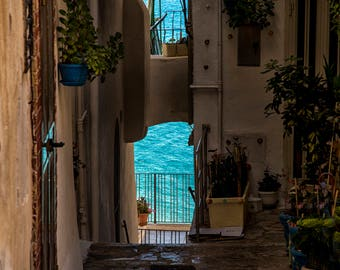 Walkway to the Mediterranean Sea in Italy