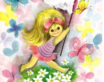 Big Eyed Little Girl Get Well Vintage Greeting Card Unused 1960's with Envelope Butterfly Theme