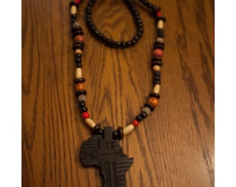 Black Africa on Mix Of Beads Necklace