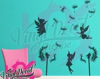 Fairy and Dandelion Wall Decal, Kids Room Wall Decor, Dandelion Wish, Fairy Decor, Large Wall Decal, Kids Wall Mural, Wall Decal, Baby Room