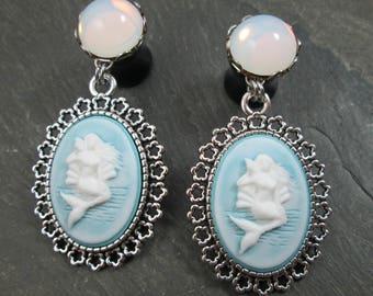 "Mermaid Dangle Plugs - 00g 10mm - 1/2"" 12mm - Wedding Gauges - Plug Earrings - Dangle Gauges - Mermaid Jewelry - Mermaid Wedding"