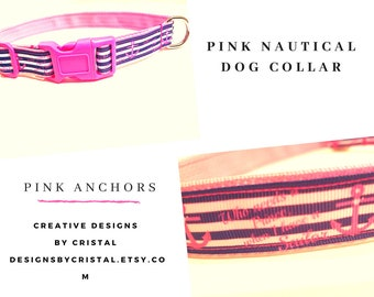 Pink Anchors Girl Dog Collar - Girl Dog Collar - Nautical Dog Collar - 1' Anchors Dog Collar - Dog Gifts - Dog Leash, Step In Dog Harness