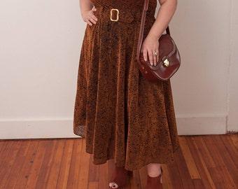 Vintage Brown Floral Print Dress - VTG Handmade Dress - Vtg Brown Flower Pattern Dress with Belt - Size Large X-Large - Gift For Her