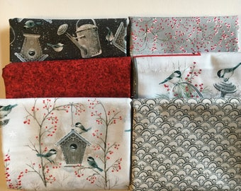Winter Garden Bundle from Quilting Treasures - 6 Fat Quarters or Half Yards of Winter Birds + Blenders in Gray, Red and White