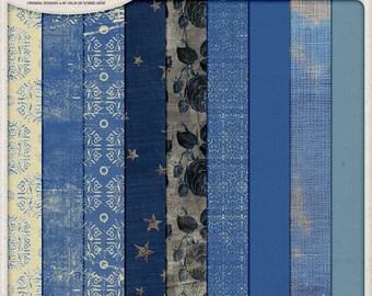 Blue Grungy Paper Pack, Ornamental Pattern, Halloween Pumpkin, Digital Paper, Instant Download, Grunge Roses, Digital Scrapbook, Burlap