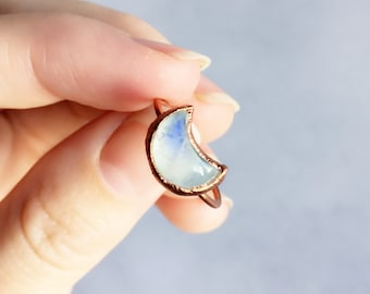 Moon Moonstone Ring | Rainbow Moonstone Ring | Copper Ring | Moon Gemstone Ring | Crescent Moon Ring | Electroformed Ring | Gift for Women