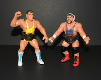 1990 Steiner Brothers WCW Galoob Rick & Scott Tag Team Pro Wrestling Action Figures with Championship Belts / Titles