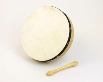"""Beautiful hand crafted 10"""" Irish bodhran, drum with free beater, tipper, stick"""