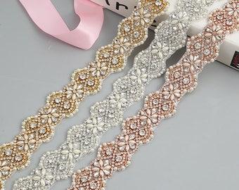 1 Yard Handmade Rhinestone Pearl Bridal Belt/ Embellish Sash / Wedding Sash/ Bridal Belt/ Applique