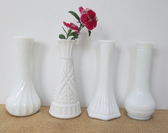 Milkglass Bud Vase, 1 flower holder Vase Vintage Rustic Wedding, White Milk Glass Baby Bridal Shower