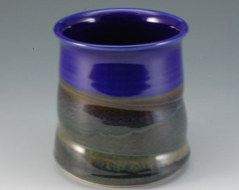 Porcelain Pottery Handmade Spoon Jar rich royal blue and Brown