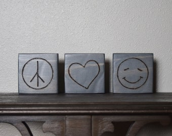 Peace, Love, Happiness Decor, Peace Love Happiness Blocks, Woodburned