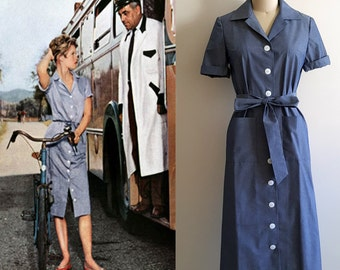 Bridget Bardot Dress/ Shirt dress/ God created woman/ Vintage 50s/ Blue Shirt Dress/ Hollywood Glamour/ Tailored Dress/ Premium fabric