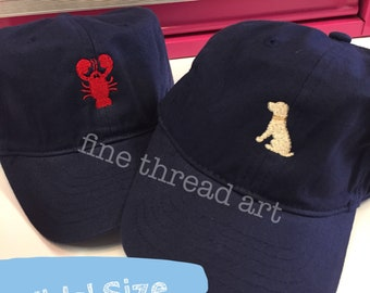 KIDS Mini Design Baseball Cap Hat Fabric Strap Metal Buckle Youth Preppy Ball Cap Child Dog Anchor Lobster Nautical Seahorse Flamingo Bow