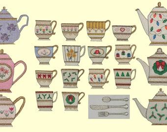Tiny Tea Treasures Machine Embroidery Designs