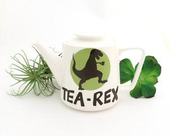 Tea Rex Teapot, porcelain teapot, t-rex dinosaur, large tea pot, ceramic teapot kiln fired holds 4 to 6 cups