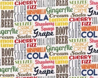 Sodalicious Cola by Michael Miller - Pop Words Text Drinks Soda - Quilting Cotton Fabric - choose your cut