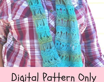 Digital Download - Crochet Pattern - Broomstick Lace Scarf - Infinity Scarf Pattern - Crochet Infinity Scarf Pattern - Pattern Only