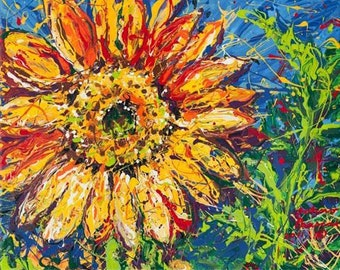 Flower art, Sunflower Painting, print by Johno Prascak