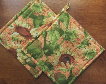Sunflower Pot Holders Set of Two Quiltsy Handmade