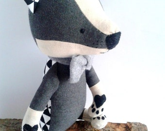 HUGO the badger. made-to-order. stuffed toy. gift for children. eco toy. woodland animals.forest animals. stuffed badger