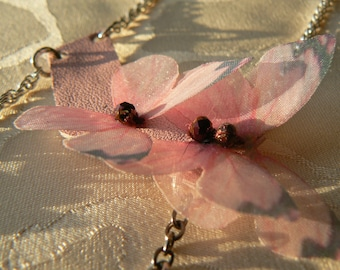 Women necklace, Chic, leather, Organza and butterflies.