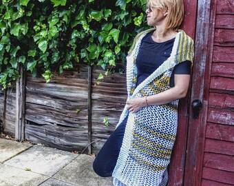 Free shipping/white bohemian style cardigan/white knitting poncho/handmade woman top wear/ready to ship/knitting shawl/long vest