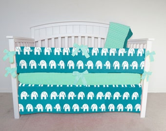 FREE SHIPPING - 4 Piece Crib Set - Elephant crib set, teal elephant, elephant crib bedding