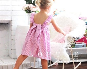 The Violet Dress - ruffle strap dress - toddler dress - pink dress - purple dress - girls dress - girls birthday dress - bow dress - gingham