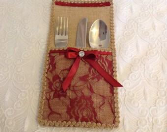 Hessian cutlery holders