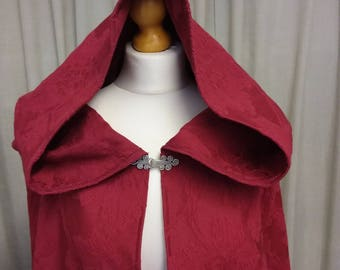 Medieval cloak in burgundy red, renaissance cape, Cape with full Scottish Widow hood,  elven cape