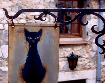 Color Photograph Italy, Black Cat Sign, Tuscany