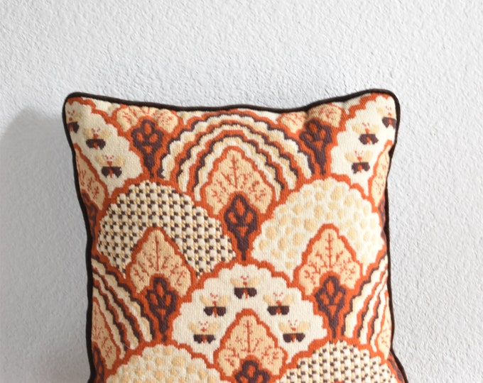 vintage butterfly embroidered throw pillow