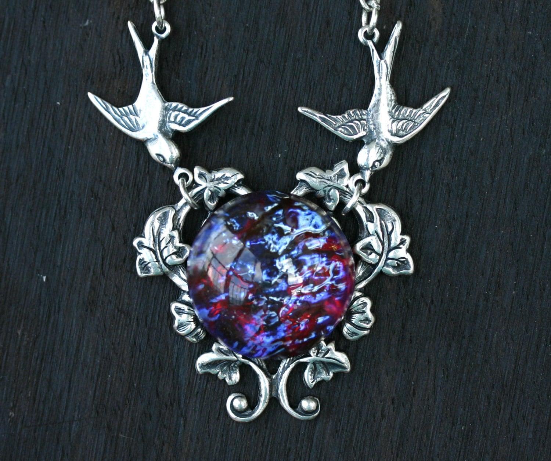Fire opal necklace with birds in dragon breath zoom aloadofball Gallery