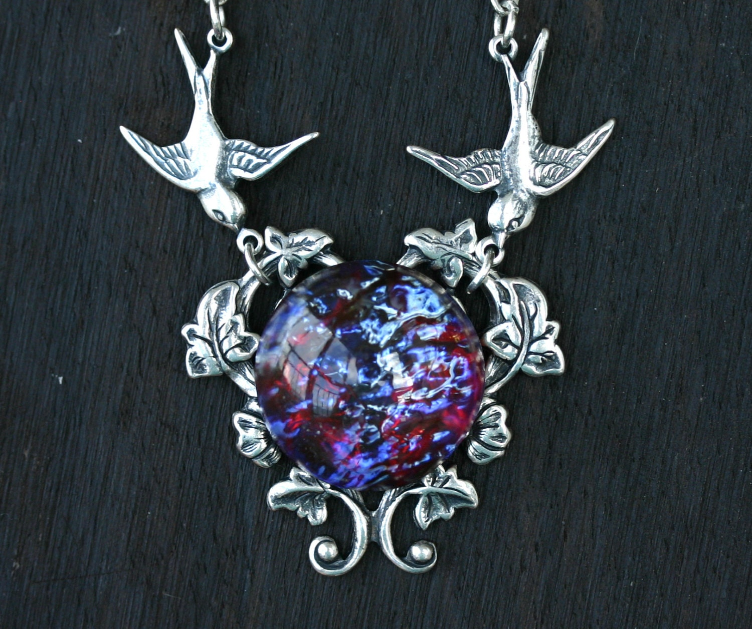Fire opal necklace with birds in dragon breath zoom aloadofball Choice Image