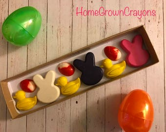Easter box crayons! bunny, duck, easter egg crayon favors.