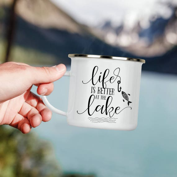 Life is Better at the Lake Camp Cup - Enamel Camp Mug - Dishwasher Safe