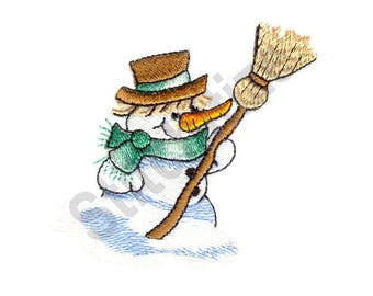 Snowman With Broom - Machine Embroidery Design, Snowman
