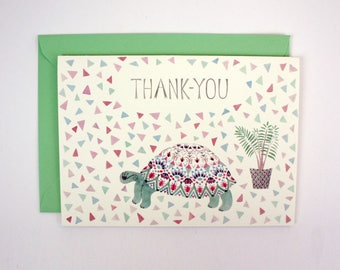 Greeting Card - Tortoise and Plant 'Thank-you'