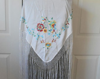 Vintage white embroidered long fringed piano Shawl