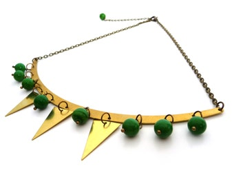 Gold brass garland necklace, triangles and green glass beads, geometric jewelry