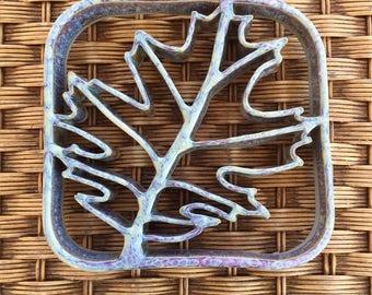 Handmade Ceramic Pottery Oak Leaf Trivet - Cookware - Gold, Purple Glaze