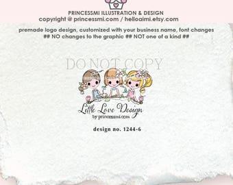 1244-6  three girls logo, business logo design, cute girl, logo branding,  boutique logo, business branding, whimsical logo, logo watermark