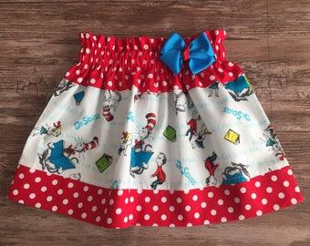 Dr. Seuss Skirt, Cat in the hat skirt, Skirt with Dr. Seuss Theme, Skirt for Dr. Seuss Birthday Theme