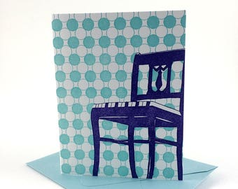 Washington D.C. Letterpress Card | Anacostia Chair | purple & teal single blank card with envelope