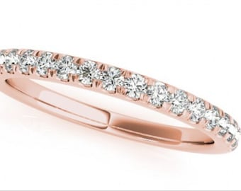 0.19ct Traditional Bridal 14k Rose Gold Wedding Band with Diamonds